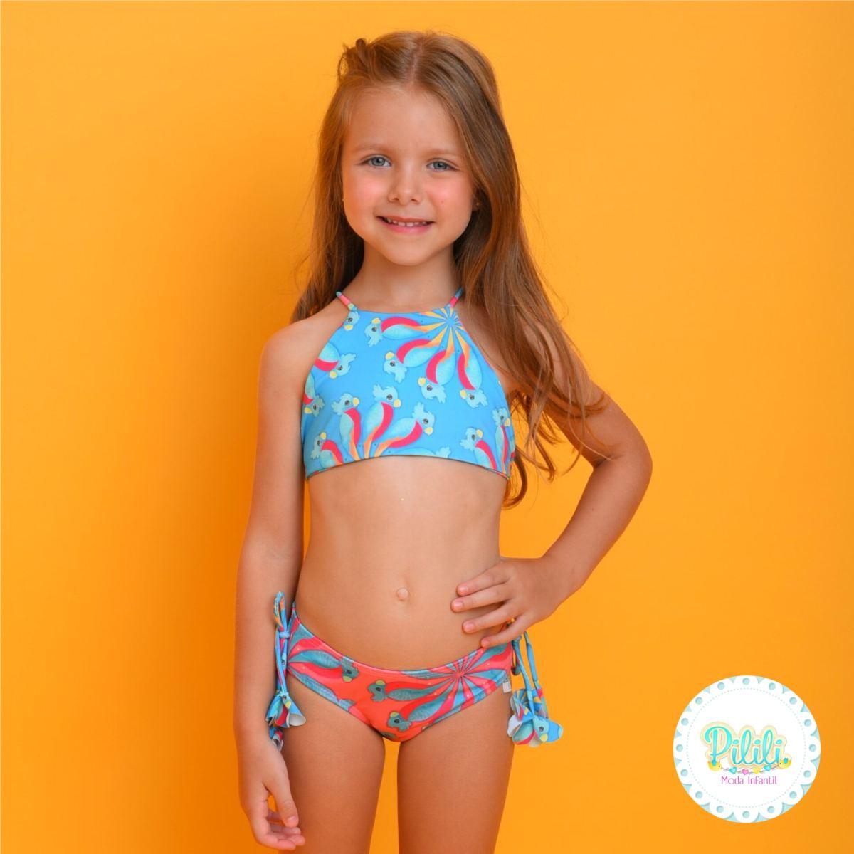 Biquini Infantil Magah Beach Wear Adriana Dupla Face Cacatua