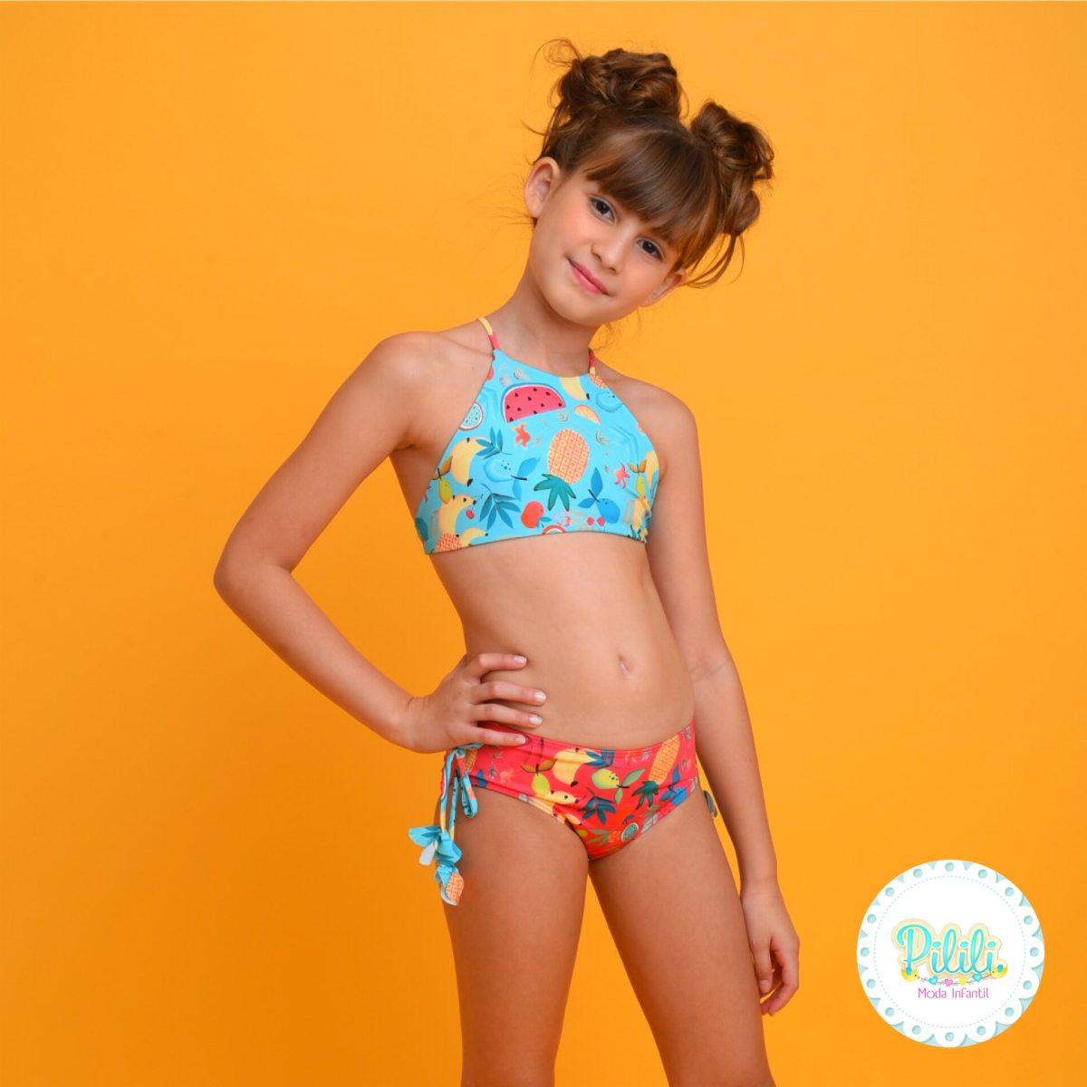 Biquini Infantil Magah Beach Wear Adriana Dupla Face Frutas