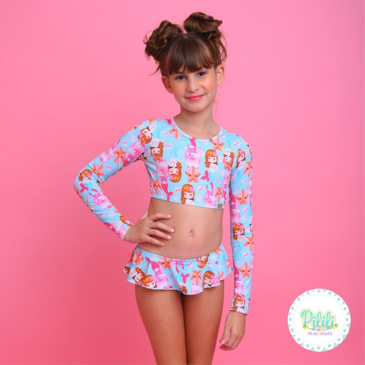 Biquini Infantil Magah Beach Wear Cropped Karime Sereia Mari