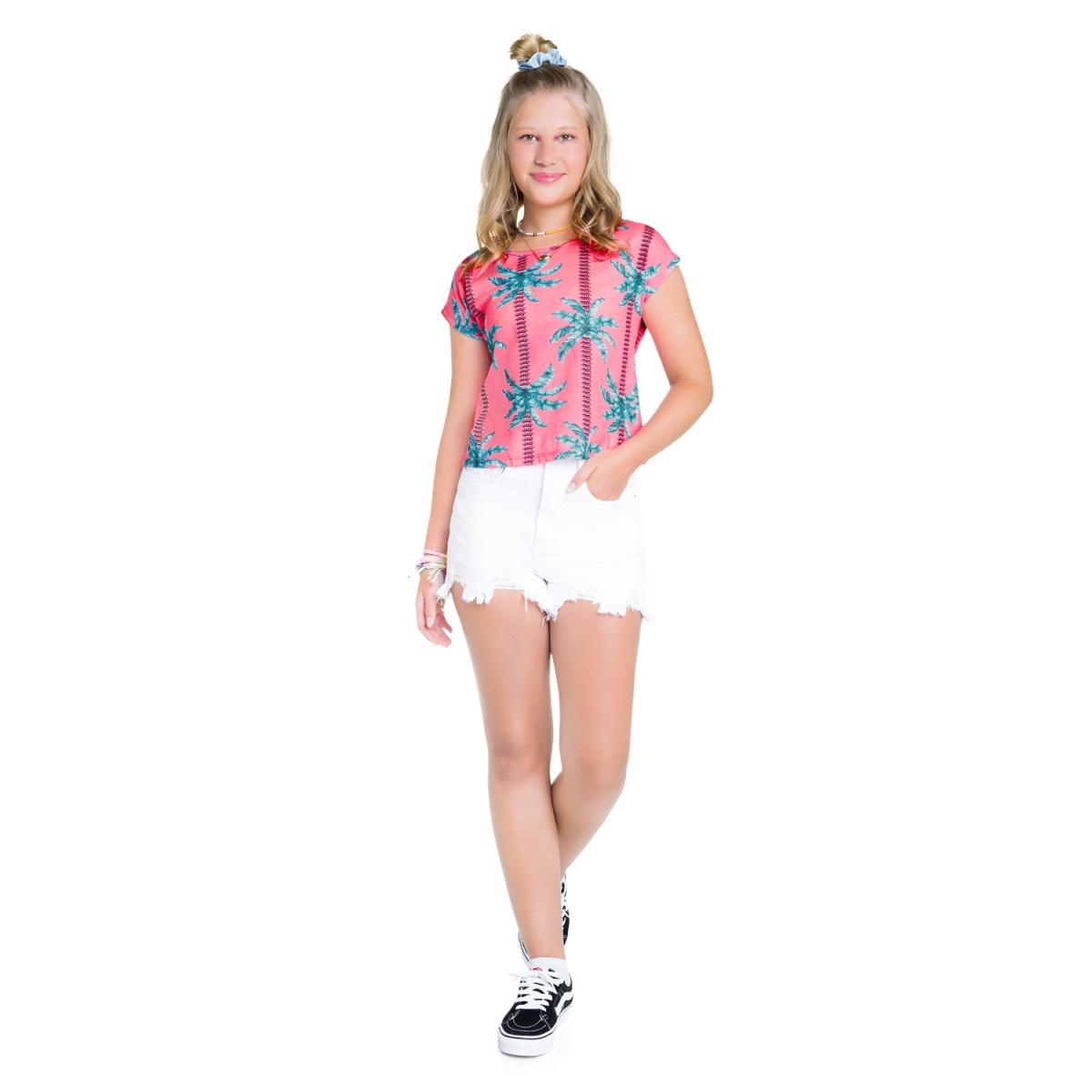 Blusa Cropped Teen Amora em Algodão