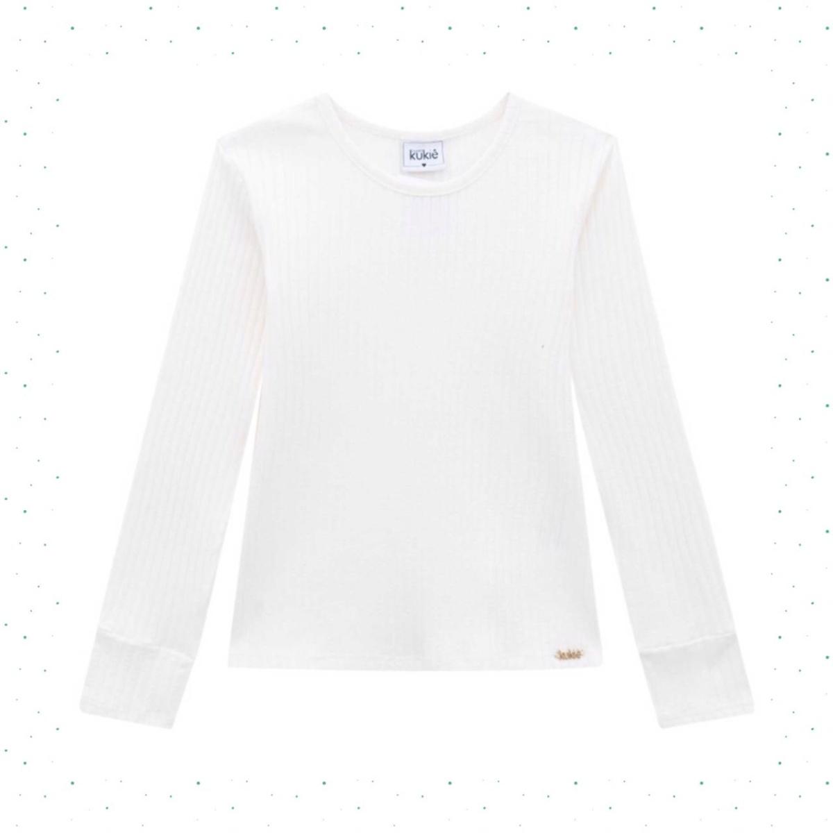 Blusa Infantil Feminina Kukiê em Algodão Canelado cor Branca
