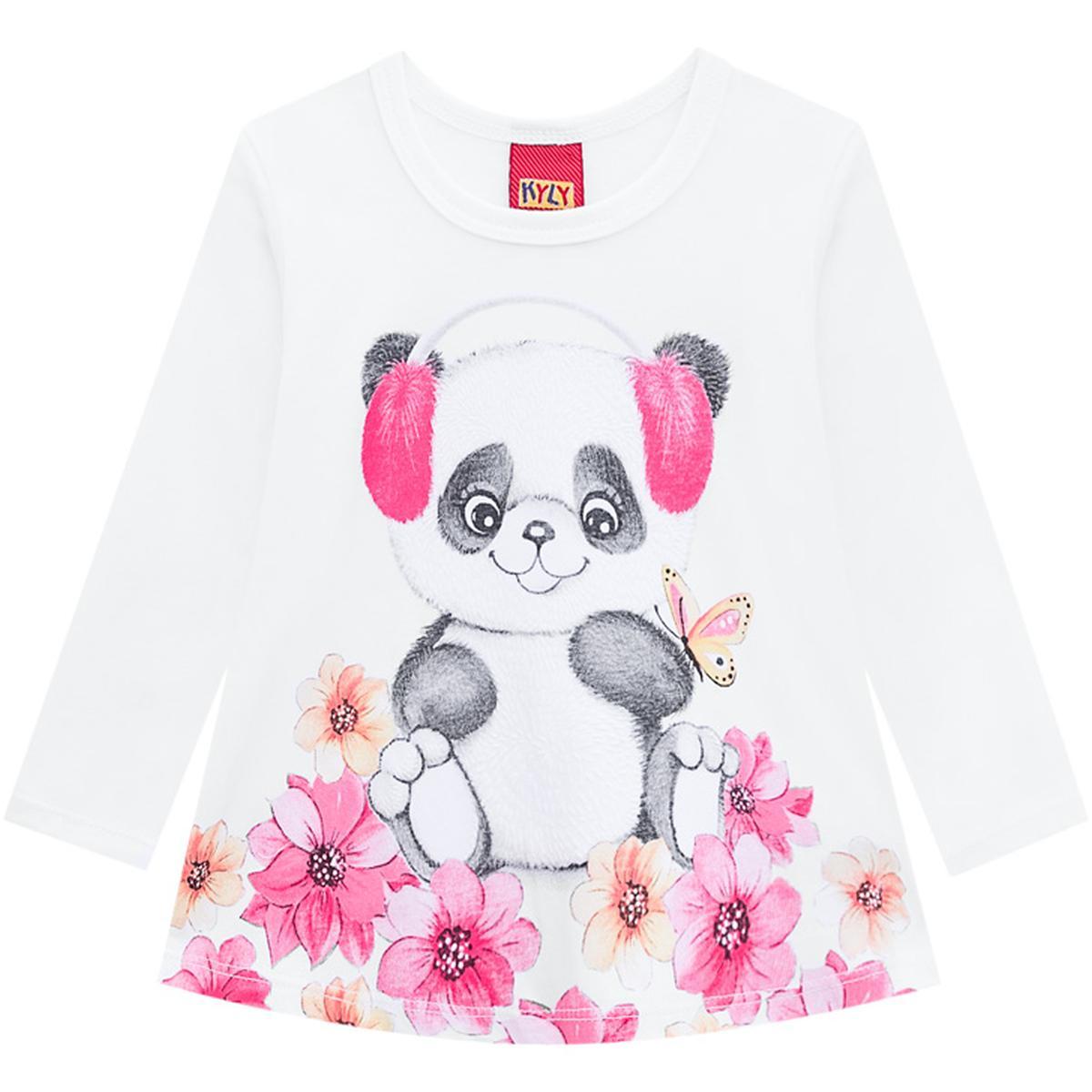 Blusa Infantil Feminina Kyly Algodão Estampa Ursinho Branca