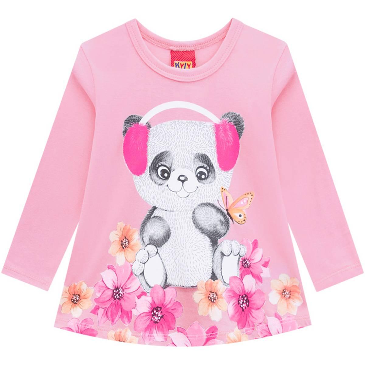 Blusa Infantil Feminina Kyly em Algodão Estampa Ursinho Rosa