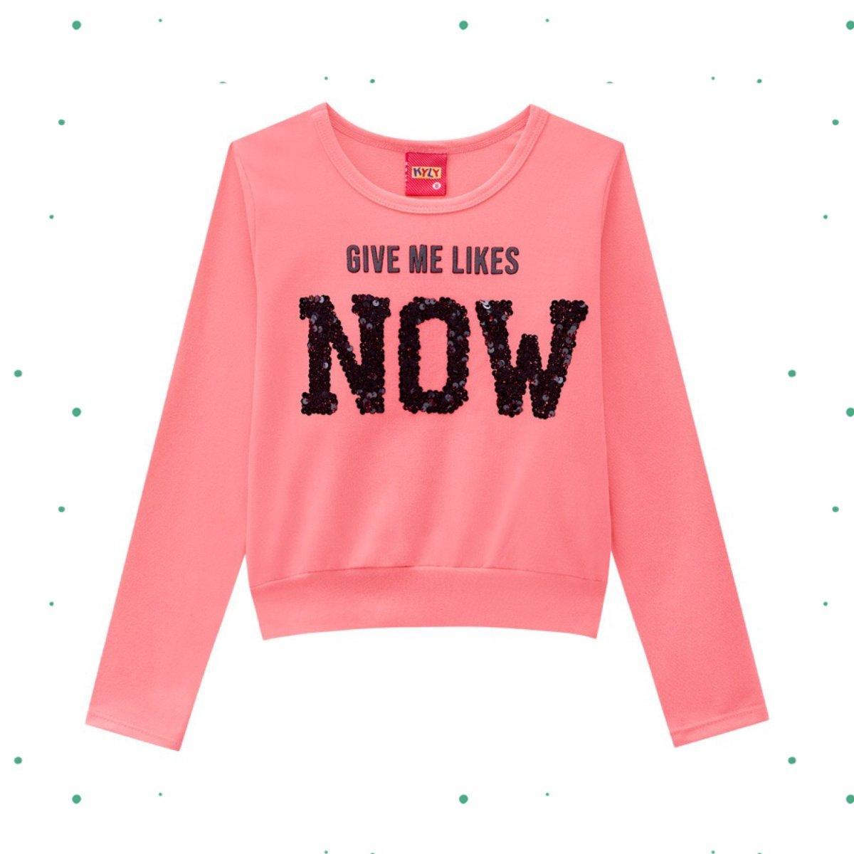 Blusa Manga Longa Menina Kyly em Cotton cor Pink Neon