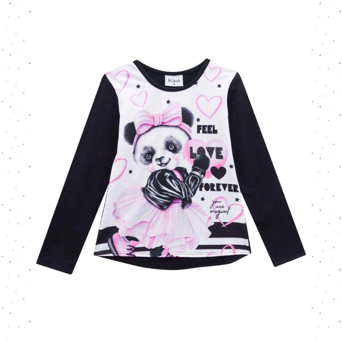 Blusa Menina Kukiê em Cotton Estampa Panda