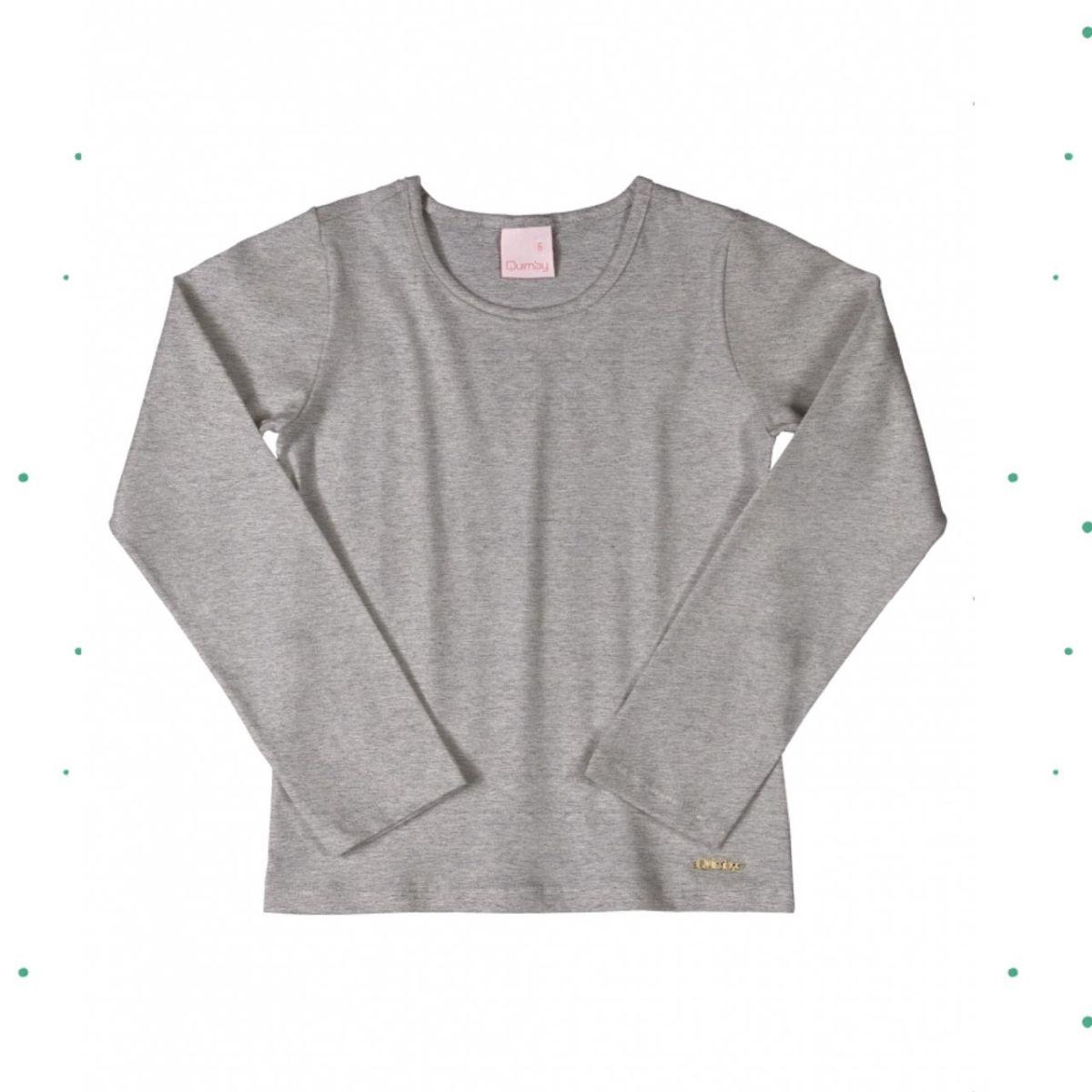 Blusa Menina Manga Longa Quimby em Cotton na cor Mescla