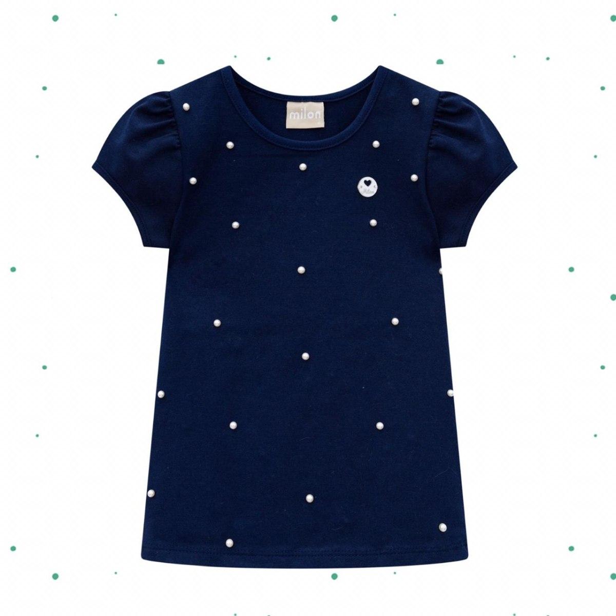 Blusa Menina Milon em Cotton Azul Marinho