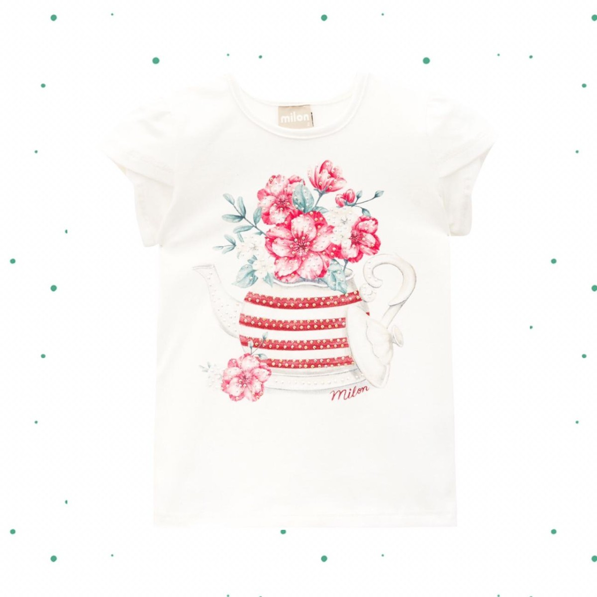 Blusa Menina Milon em Cotton Estampada cor Off White
