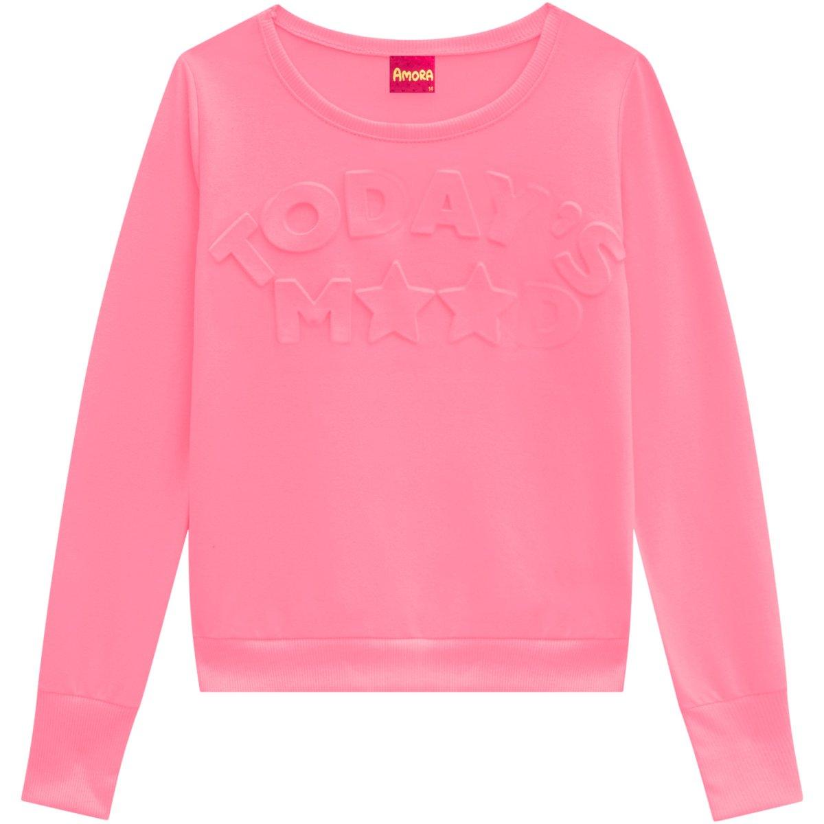 Blusa Teen Feminina Amora em Malha Sublimada Pink Neon