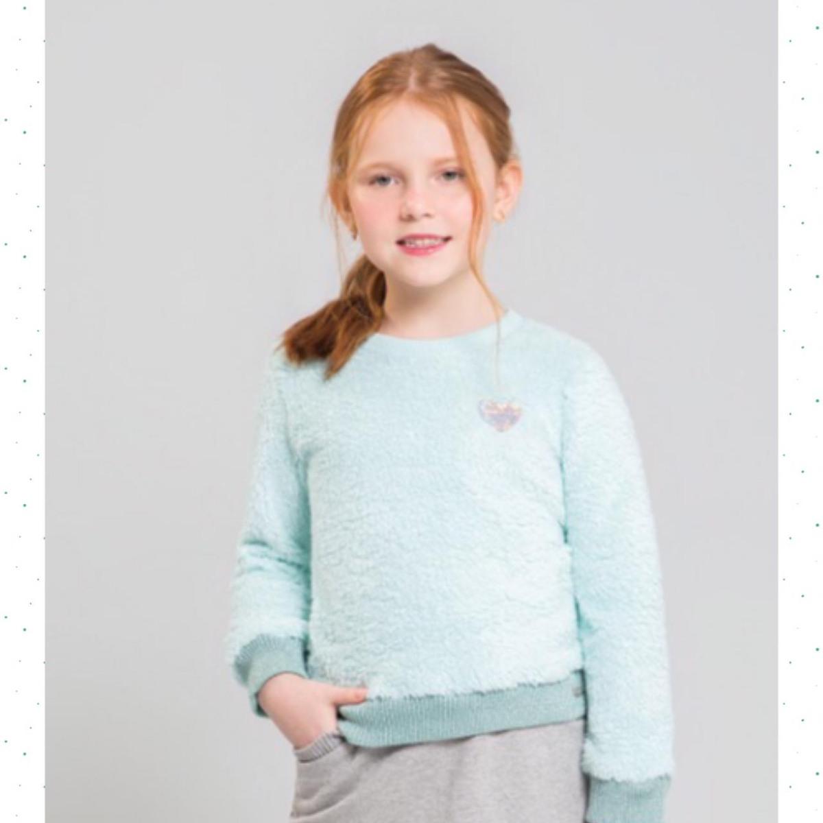 Blusão Infantil Feminino Kukiê em Pelo Carneirinho Azul