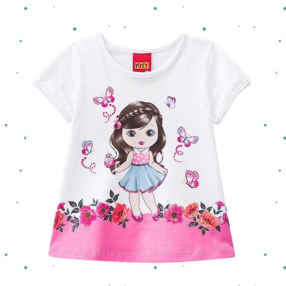 Blusinha Infantil Feminina Kyly em Algodão Estampada na cor Branca