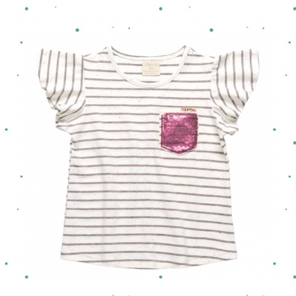 Blusinha Infantil Feminina Quimby Manga Curta em Cotton Fio Tinto na cor Mescla