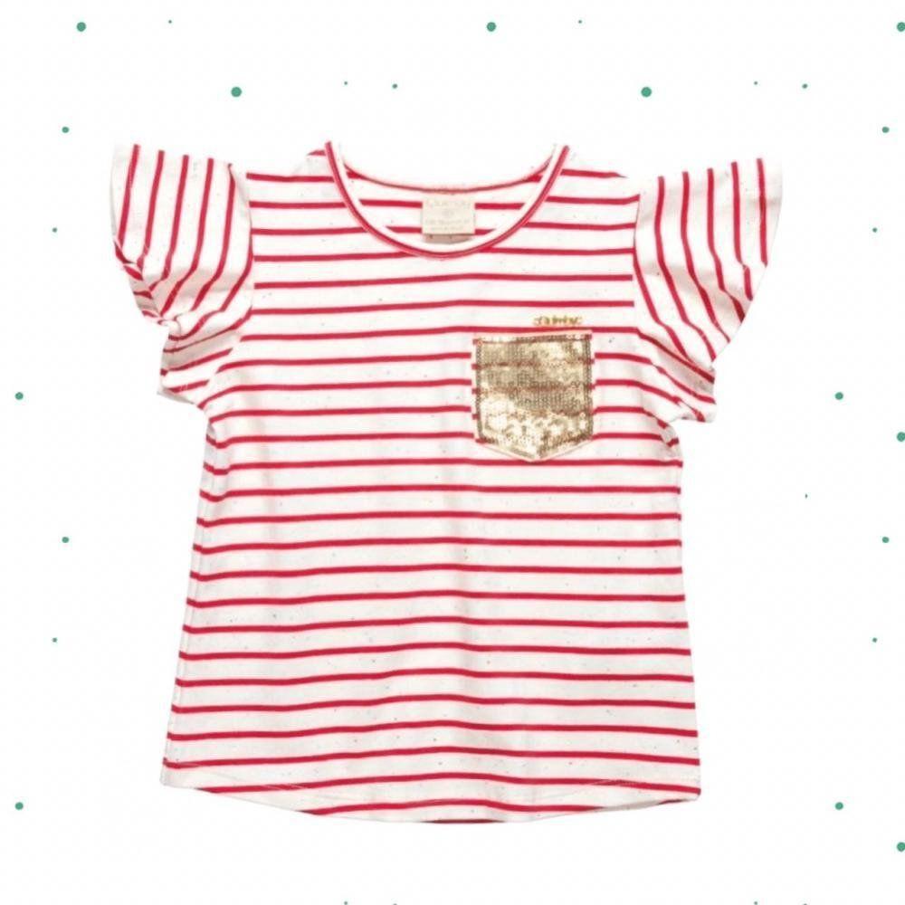 Blusinha Infantil Feminina Quimby Manga Curta em Cotton Fio Tinto na cor Vermelha
