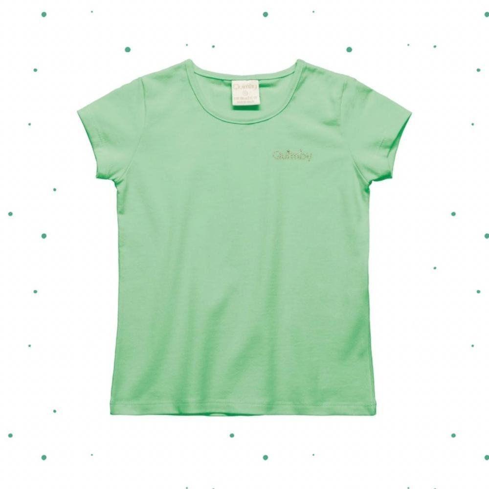 Blusinha Infantil Feminina Quimby Manga Curta em Cotton na cor Verde Claro