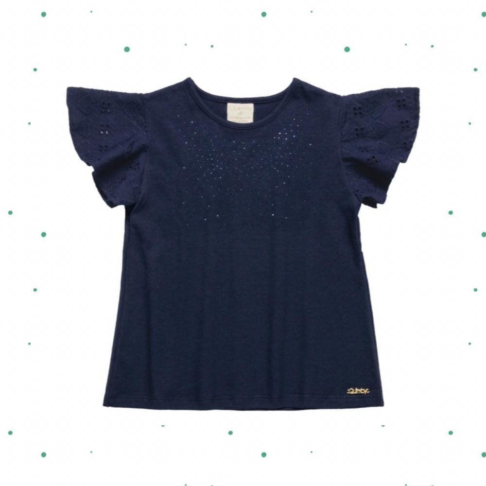 Blusinha Infantil Menina Quimby em Cottton e Laise na cor Azul Marinho