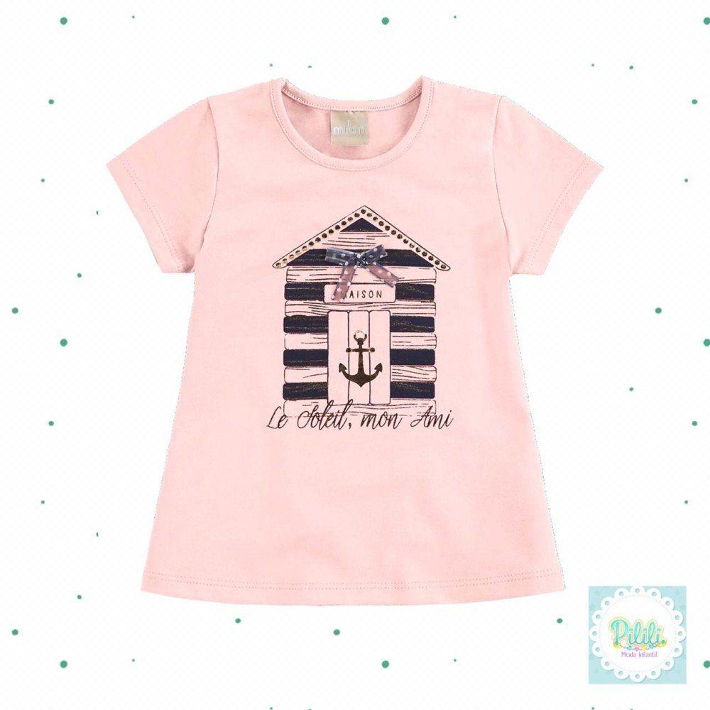 Blusinha Milon Infantil Feminina em Cotton na cor Rosa