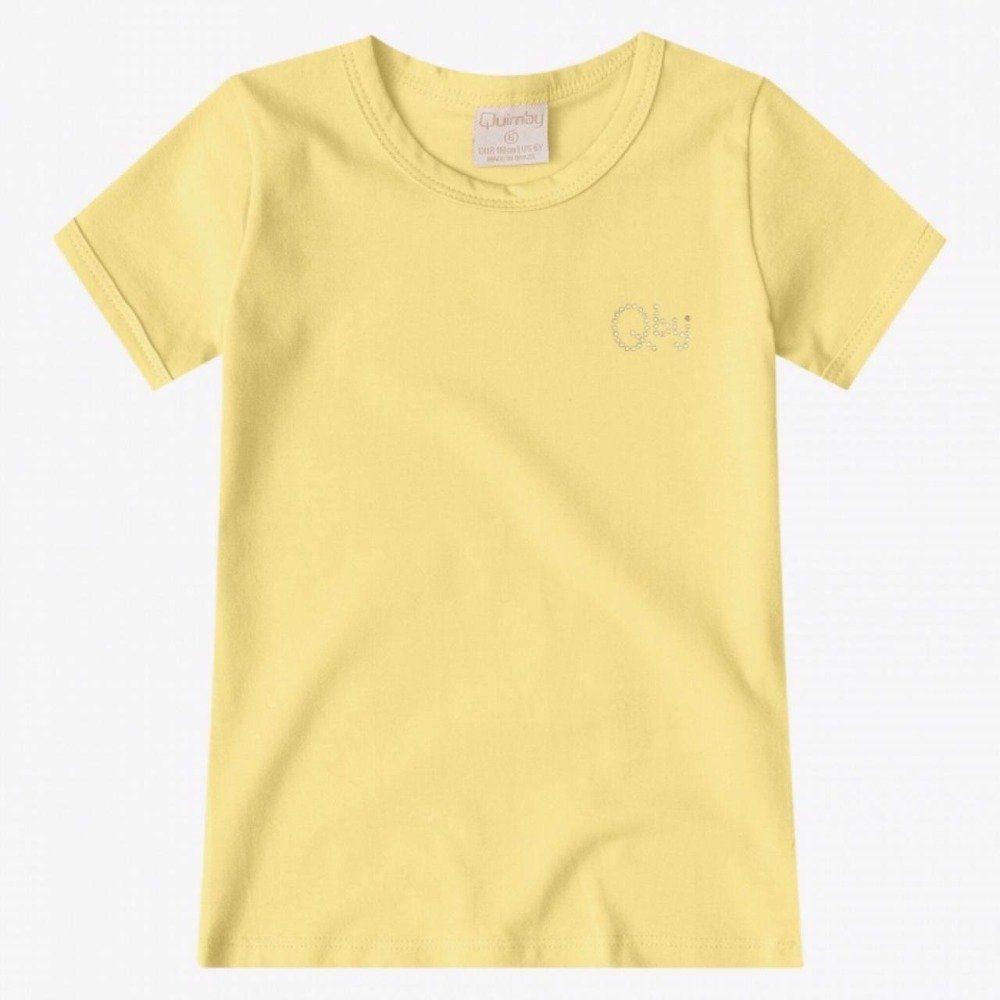 Blusinha Quimby Manga Curta em Cotton na Cor Amarela