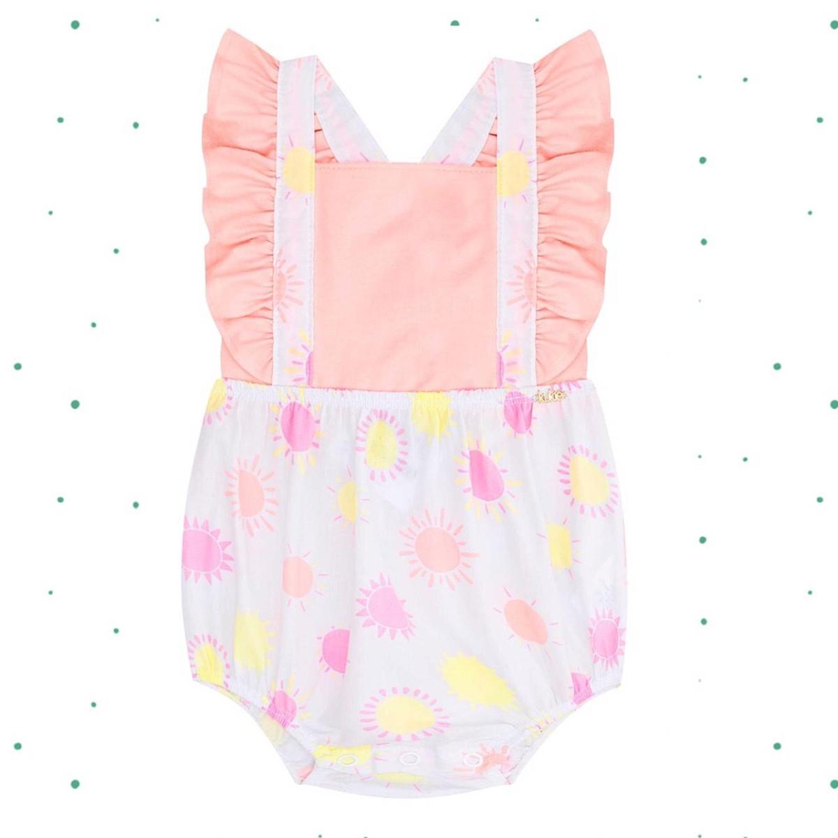 Body Bebê Menina Kukiê em Cotton e Tricoline