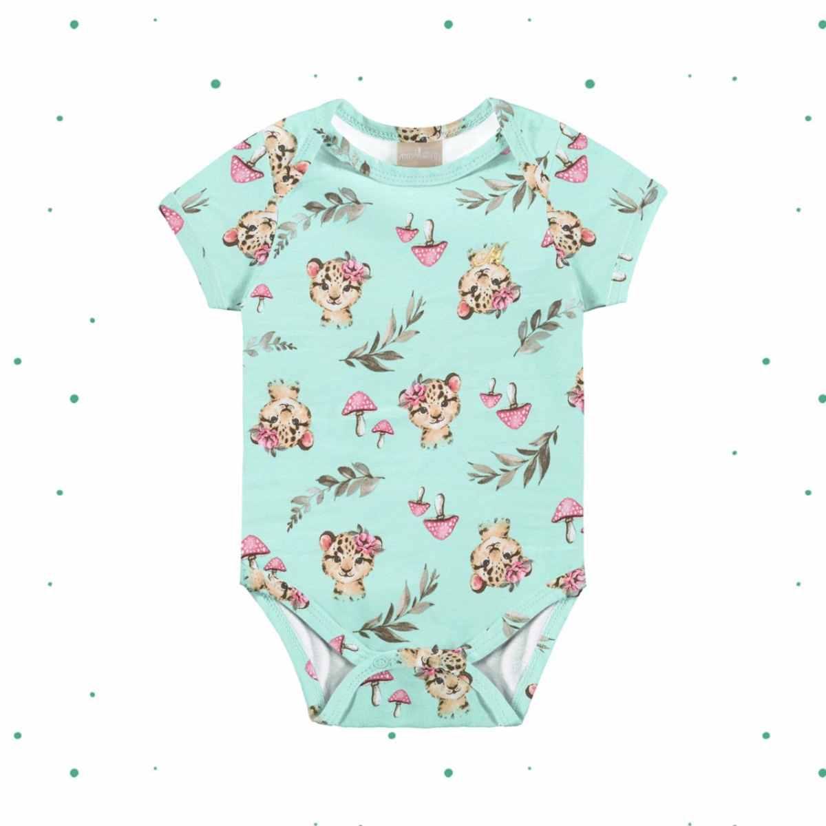 Body Bebê Menina Manga Curta em Cotton 4 Estampado