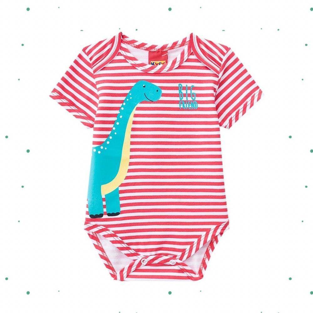 Body Bebê Menino Curto Kyly em Cotton