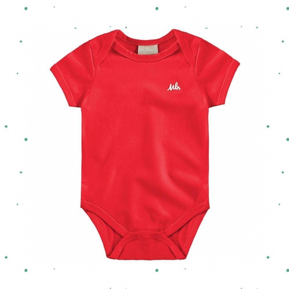 Body Bebê Menino Milon Manga Curta em Cotton na cor Vermelho