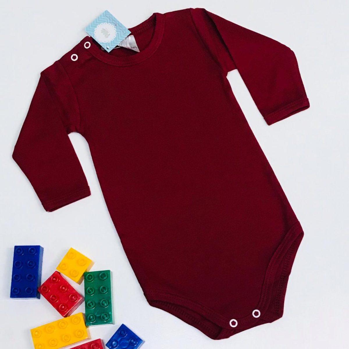 Body Bebê Odicon Manga Longa em Suedine Vermelho