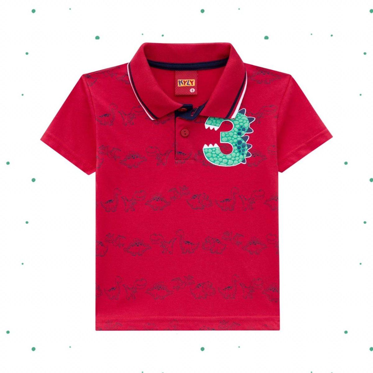 Camisa Polo Infantil Kyly Manga Curta em Algodão Vermelha