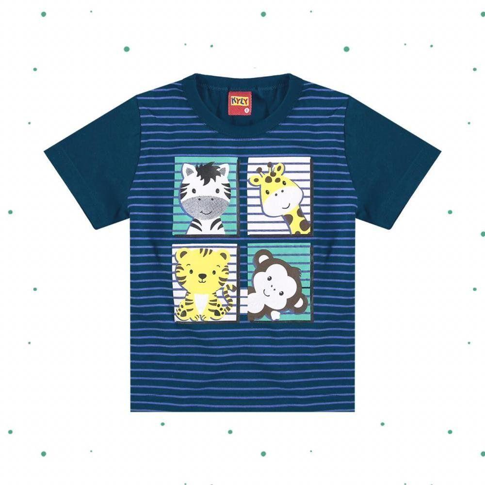 Camiseta Bebê Menino em 100% Algodão Estampada