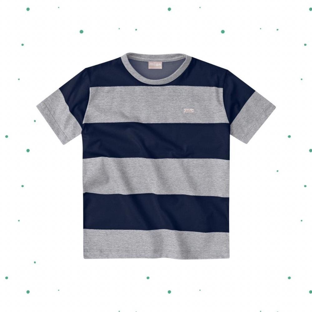Camiseta Bebê Menino Milon em Meia Malha Listrada Mescla com Marinho