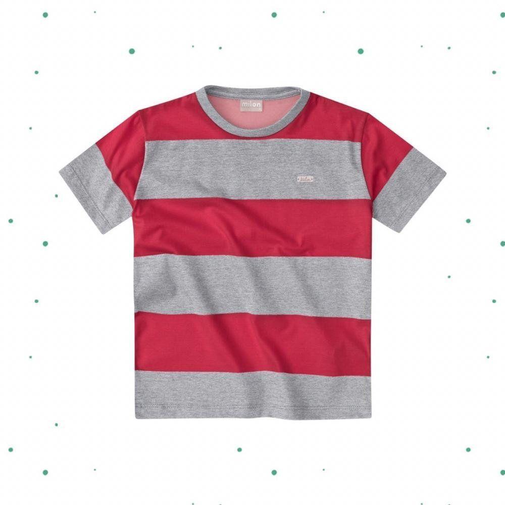 Camiseta Bebê Menino Milon em Meia Malha Listrada Vermelha com Mescla