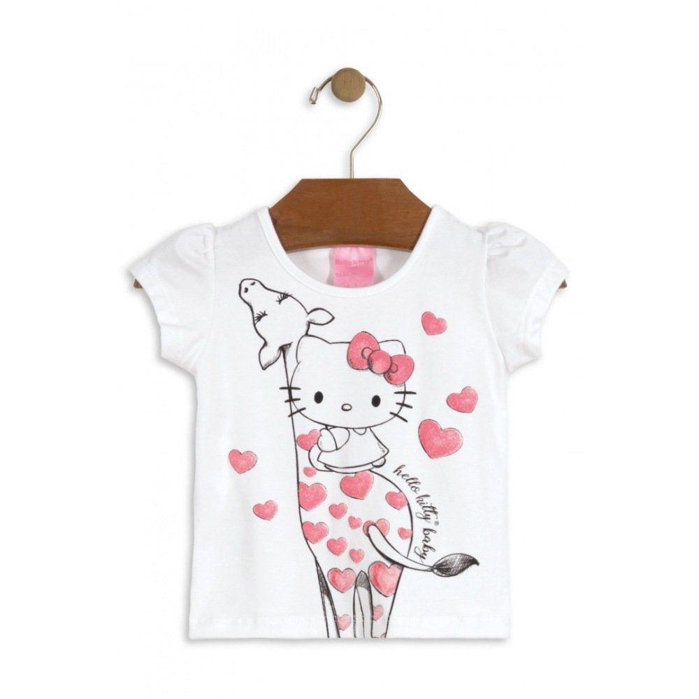 Camiseta Hello Kitty Manga Curta em Cotton