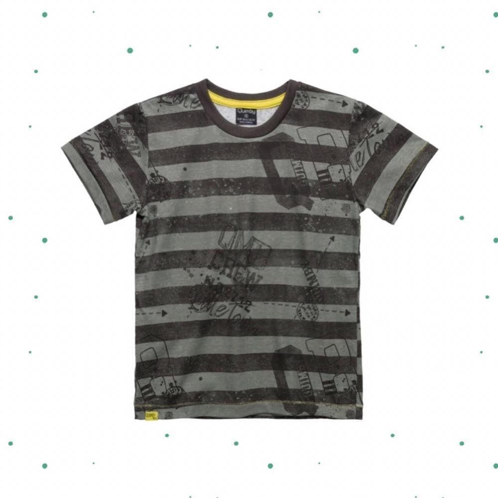 Camiseta Infantil Manga Curta Masculina Quimby em Algodão Listrada na cor Mescla