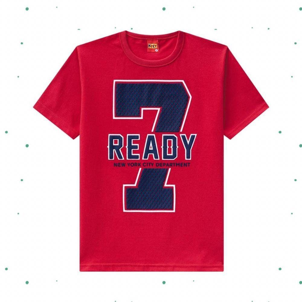 Camiseta Infantil Masculina Kyly em Algodão Estampada na cor Vermelha