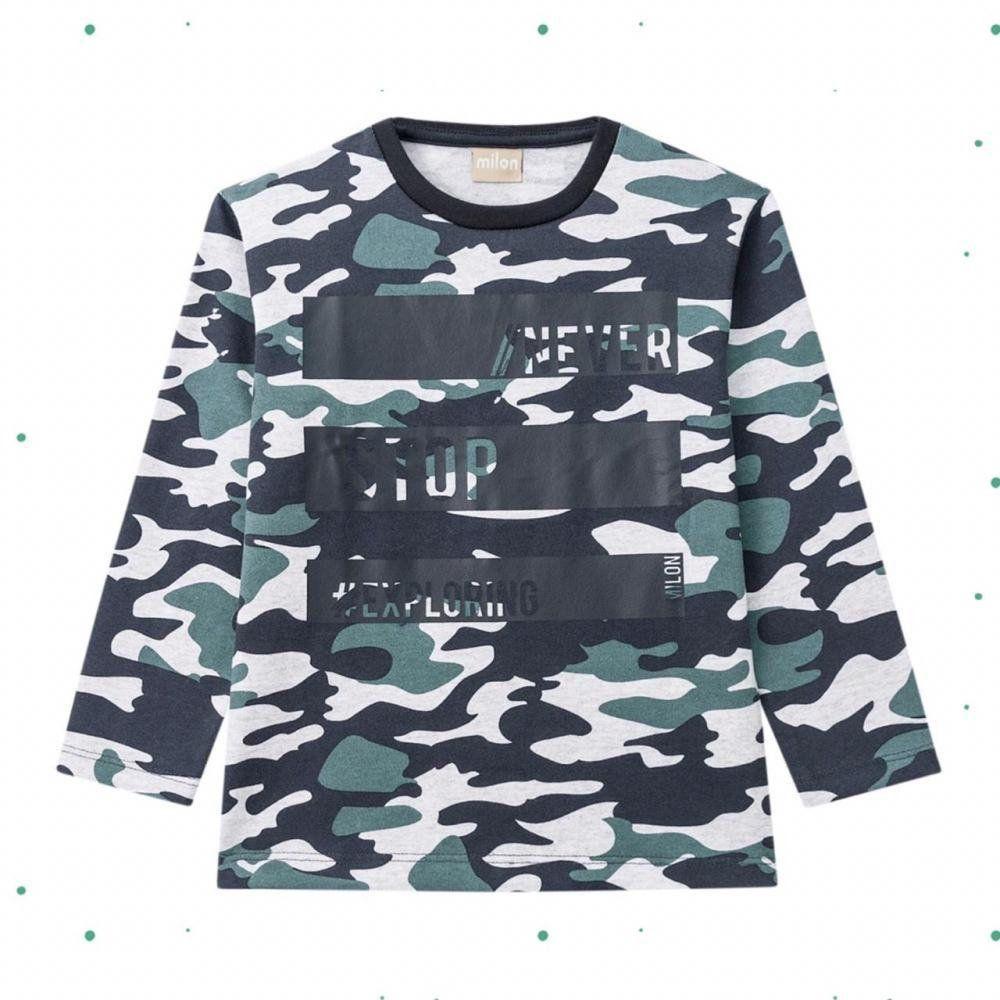 Camiseta Infantil Masculina Milonem Malhão Manga Longa com Estampa Militar