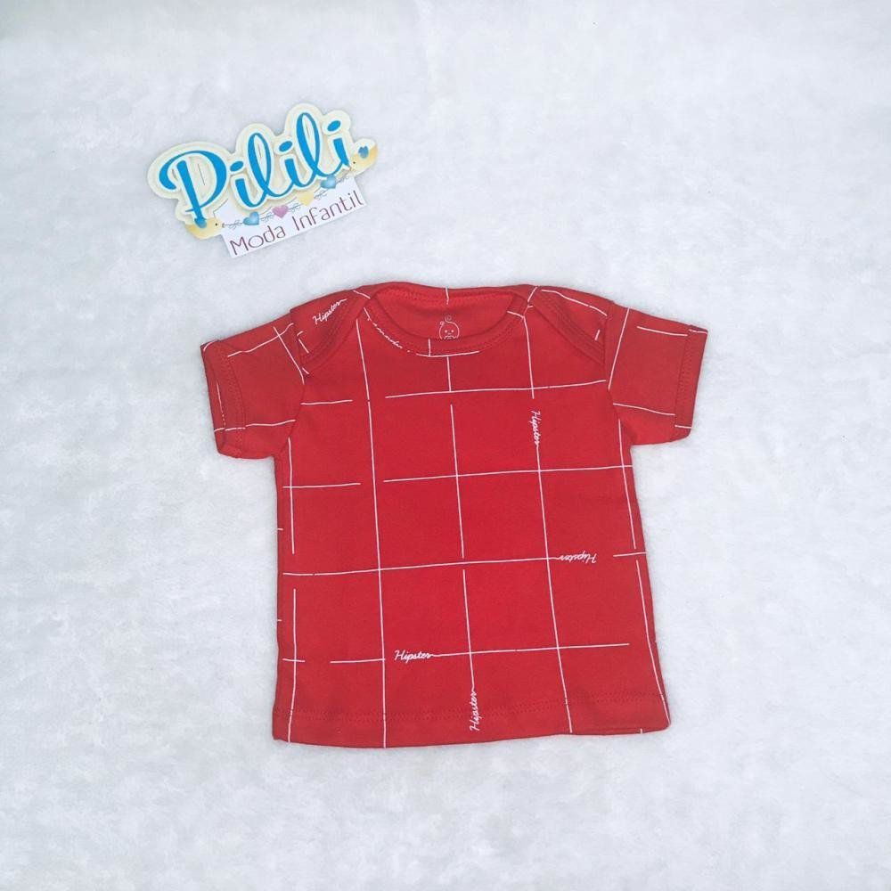 Camiseta Manga Curta em Suedine Estampa Xadrez Vermelho