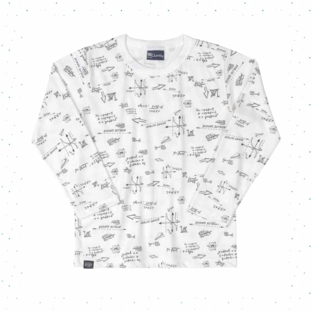Camiseta Manga Longa Infantil Menino Quimby-Branco