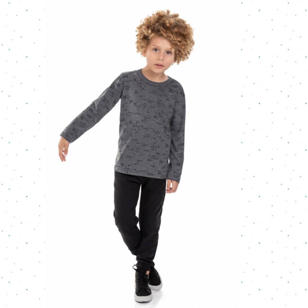 Camiseta Manga Longa Infantil Menino Quimby-Mescla