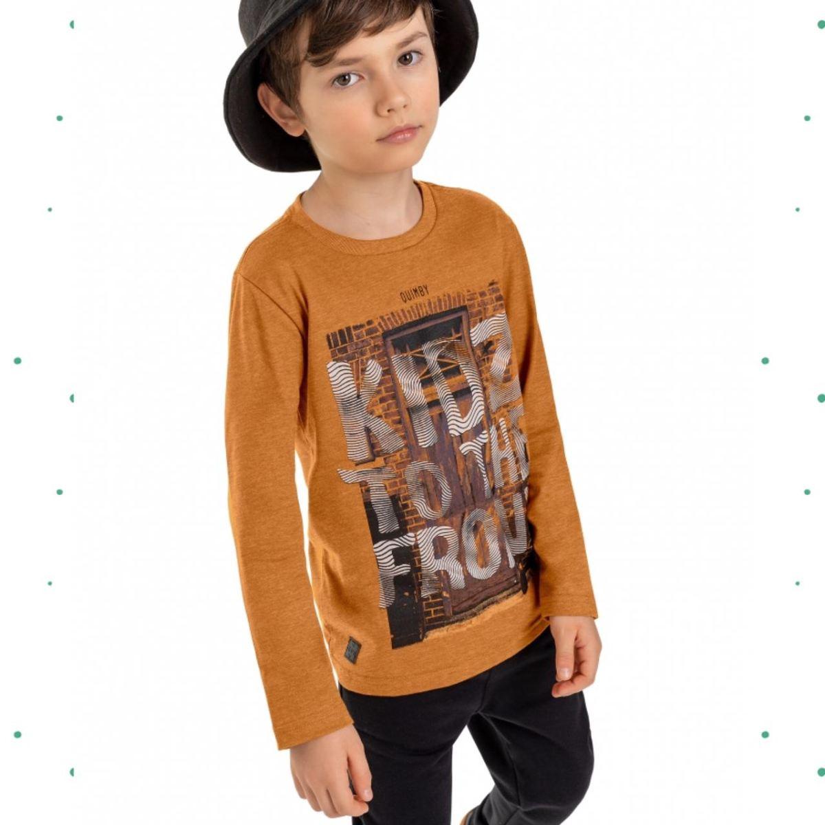 Camiseta Manga Longa Menino Quimby em Algodão cor Mostarda