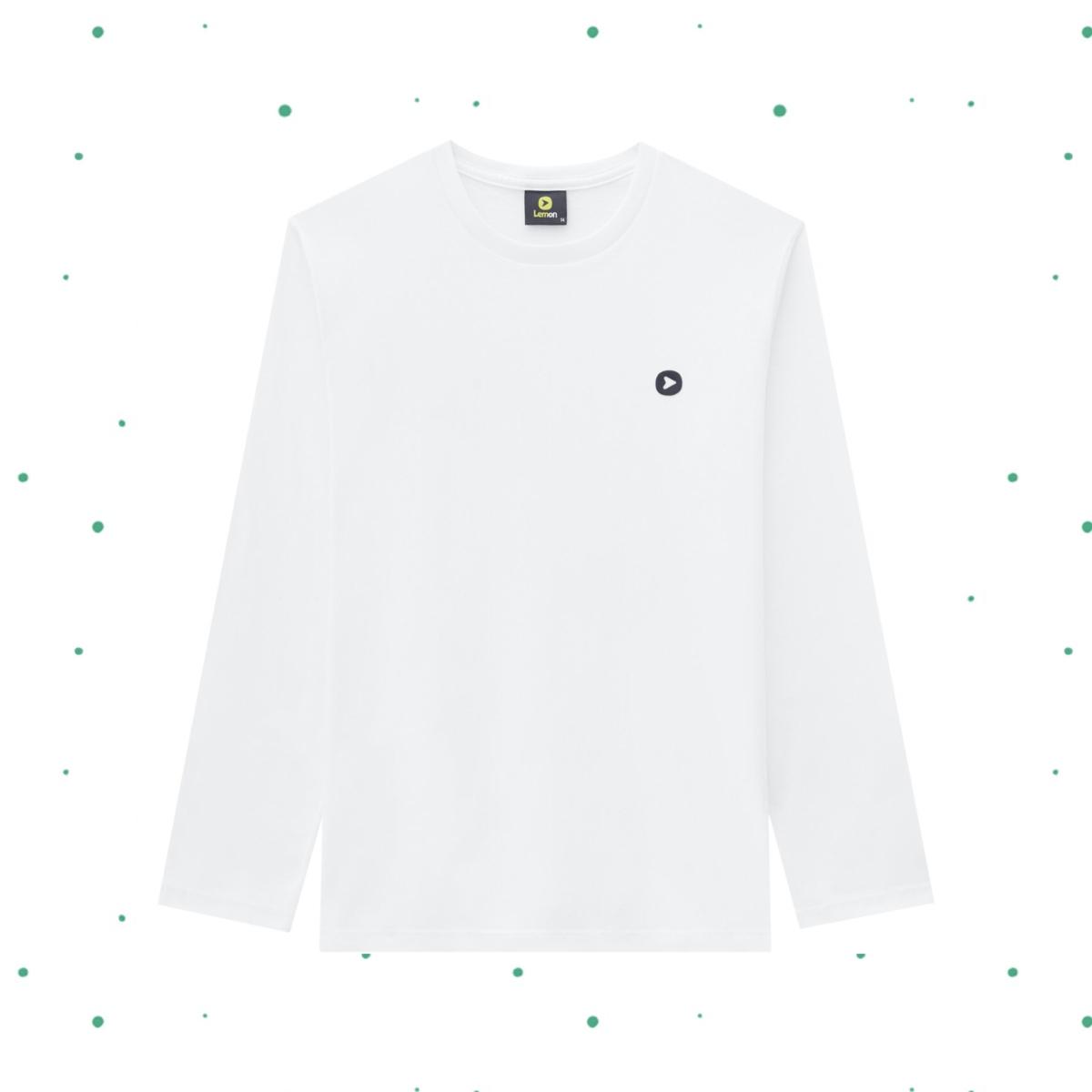Camiseta Manga Longa Teen Lemon em Algodão cor Branca