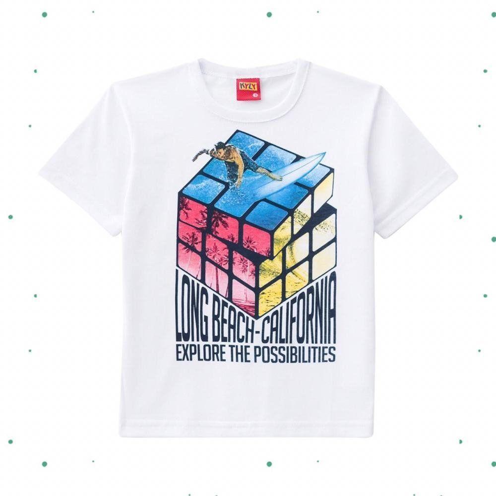 Camiseta Menino Kyly em Algodão com Estampa de cubo Mágico