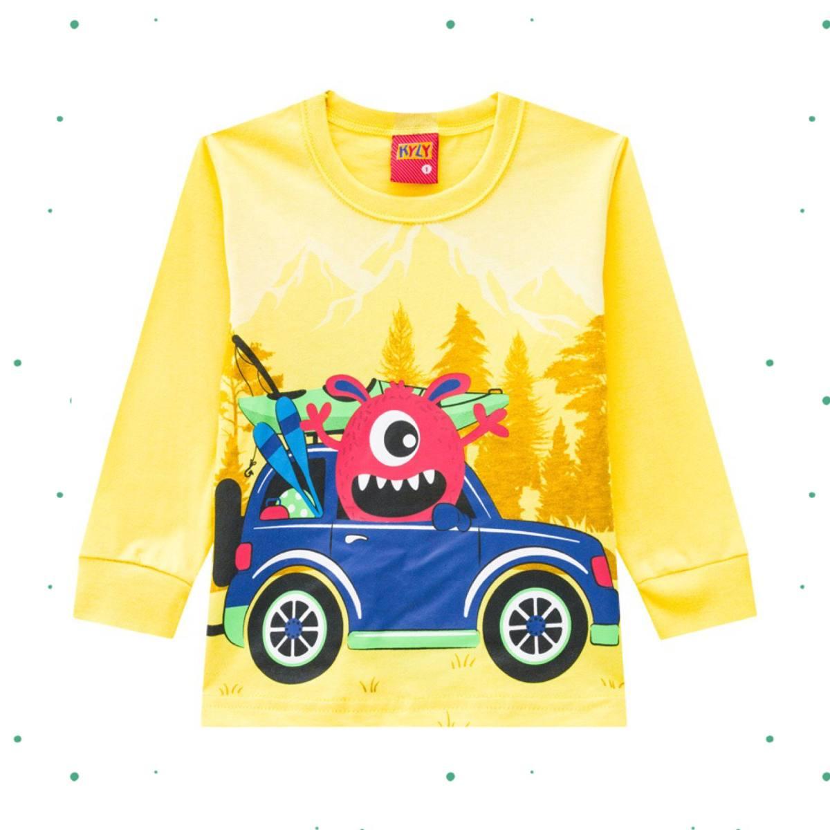 Camiseta Menino Kyly em Algodão Estampada cor Amarela
