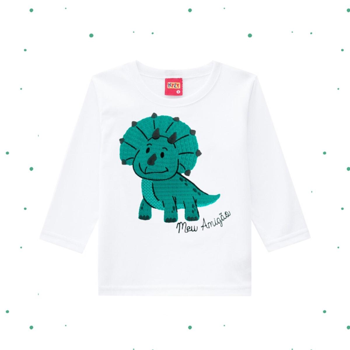 Camiseta Menino Kyly em Algodão Estampada cor Branca