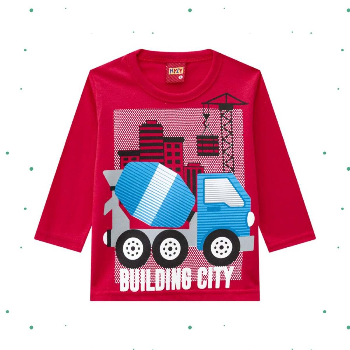 Camiseta Menino Kyly em Algodão Estampada cor Vermelha