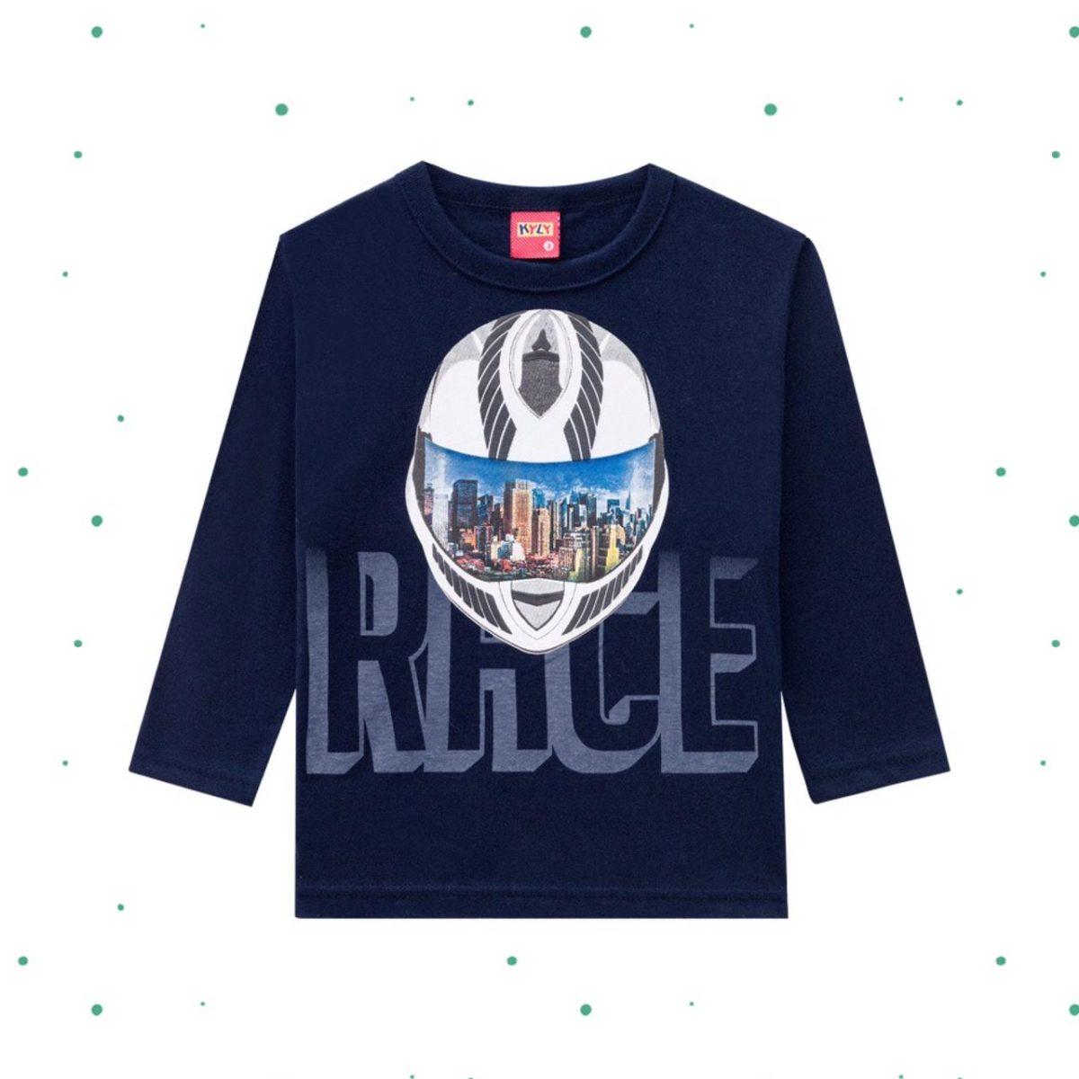 Camiseta Menino Kyly Manga Longa em Algodão Estampada
