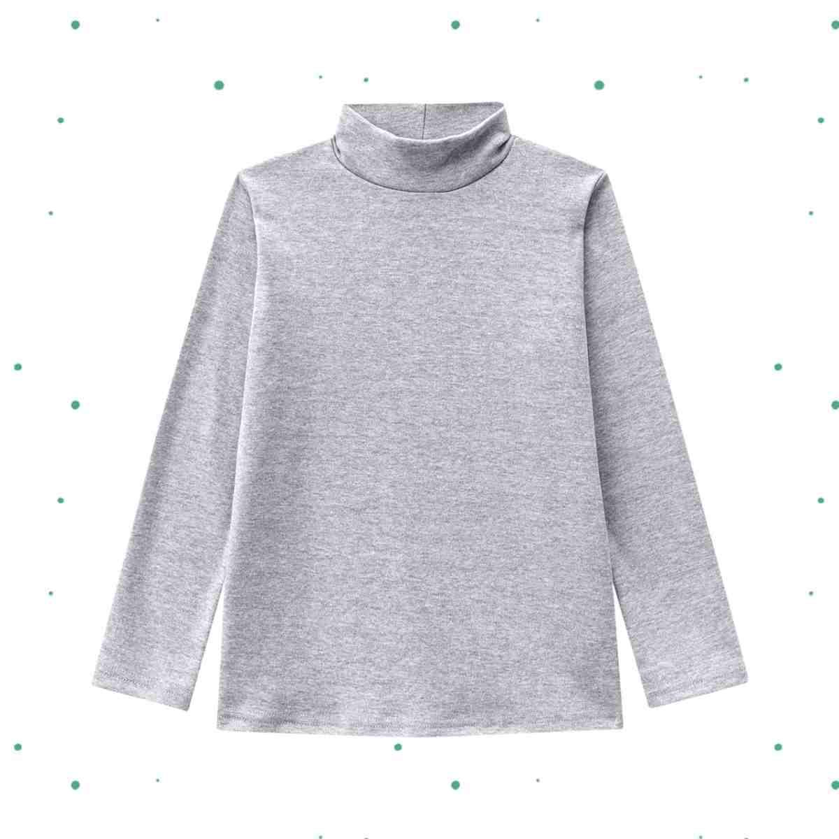 Camiseta Menino Manga Longa Kyly em Suedine com Gola Cacharrel