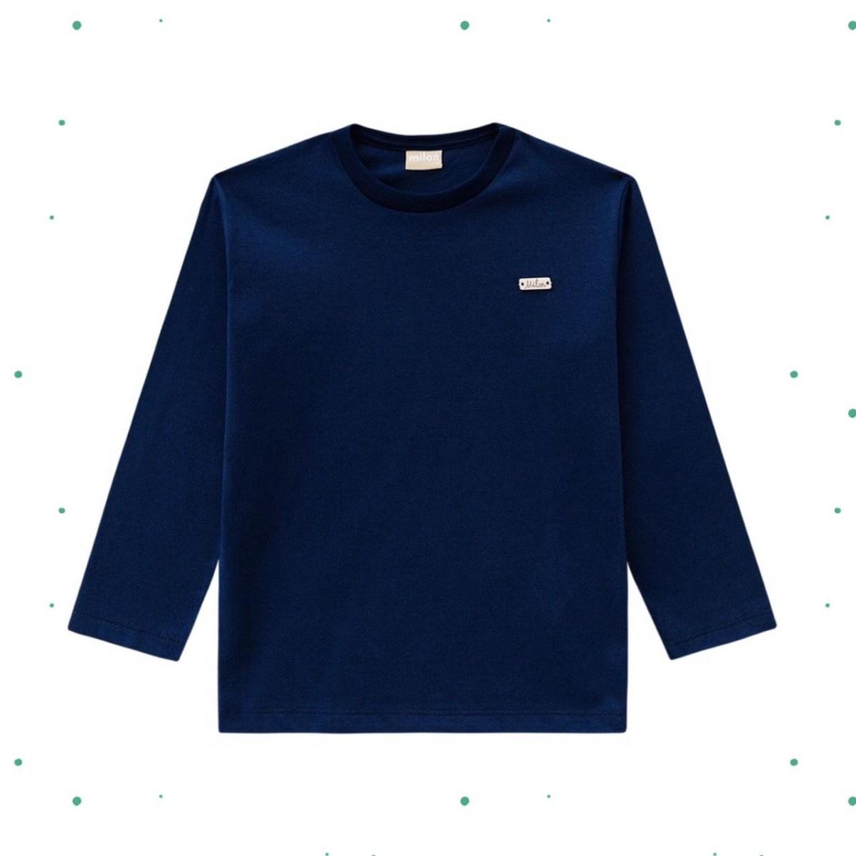 Camiseta Menino Manga Longa Milon em Algodão cor Marinho