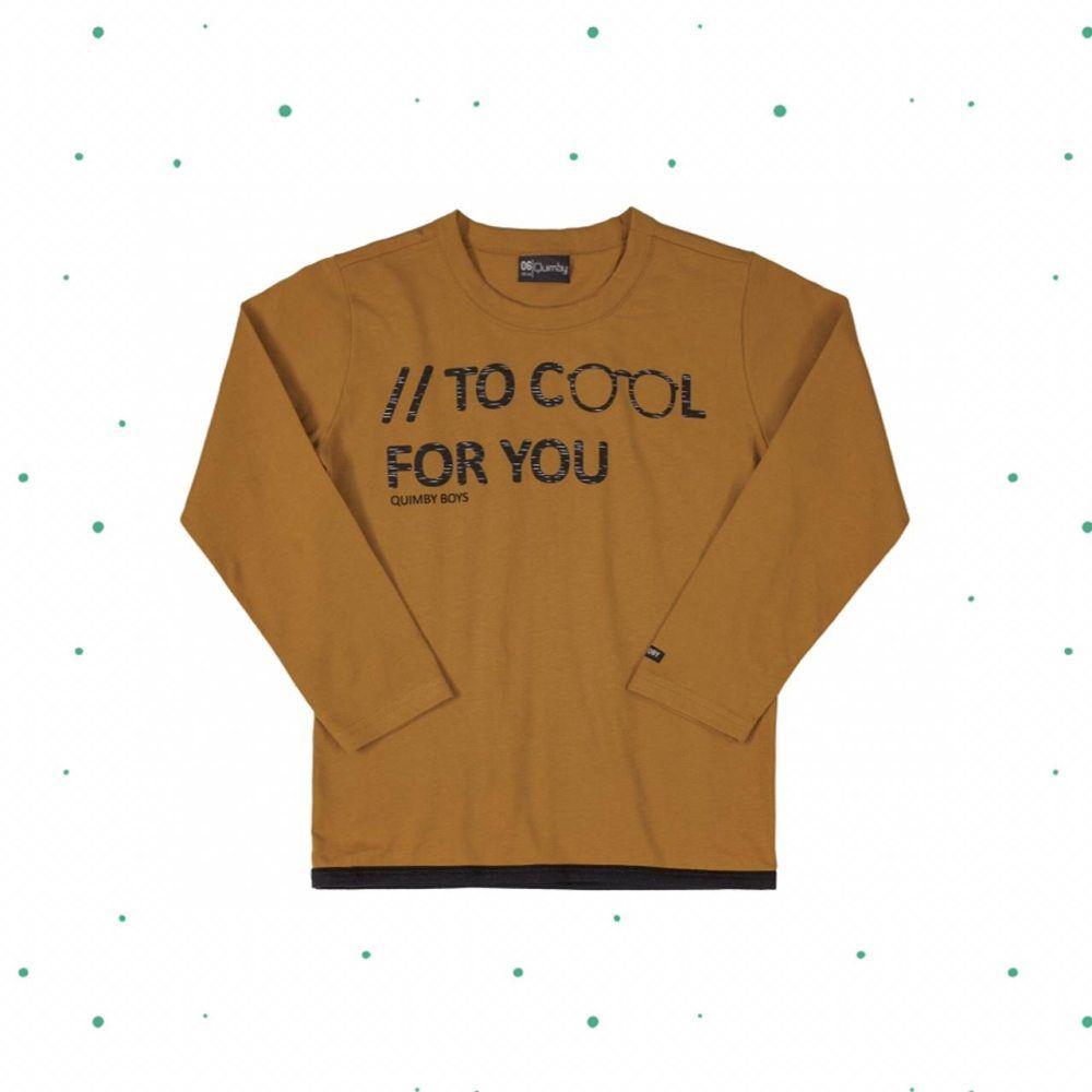 Camiseta Menino Manga Longa Quimby em Algodão