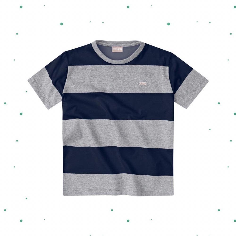 Camiseta Menino Milon em Meia Malha Listrada Mescla com Marinho