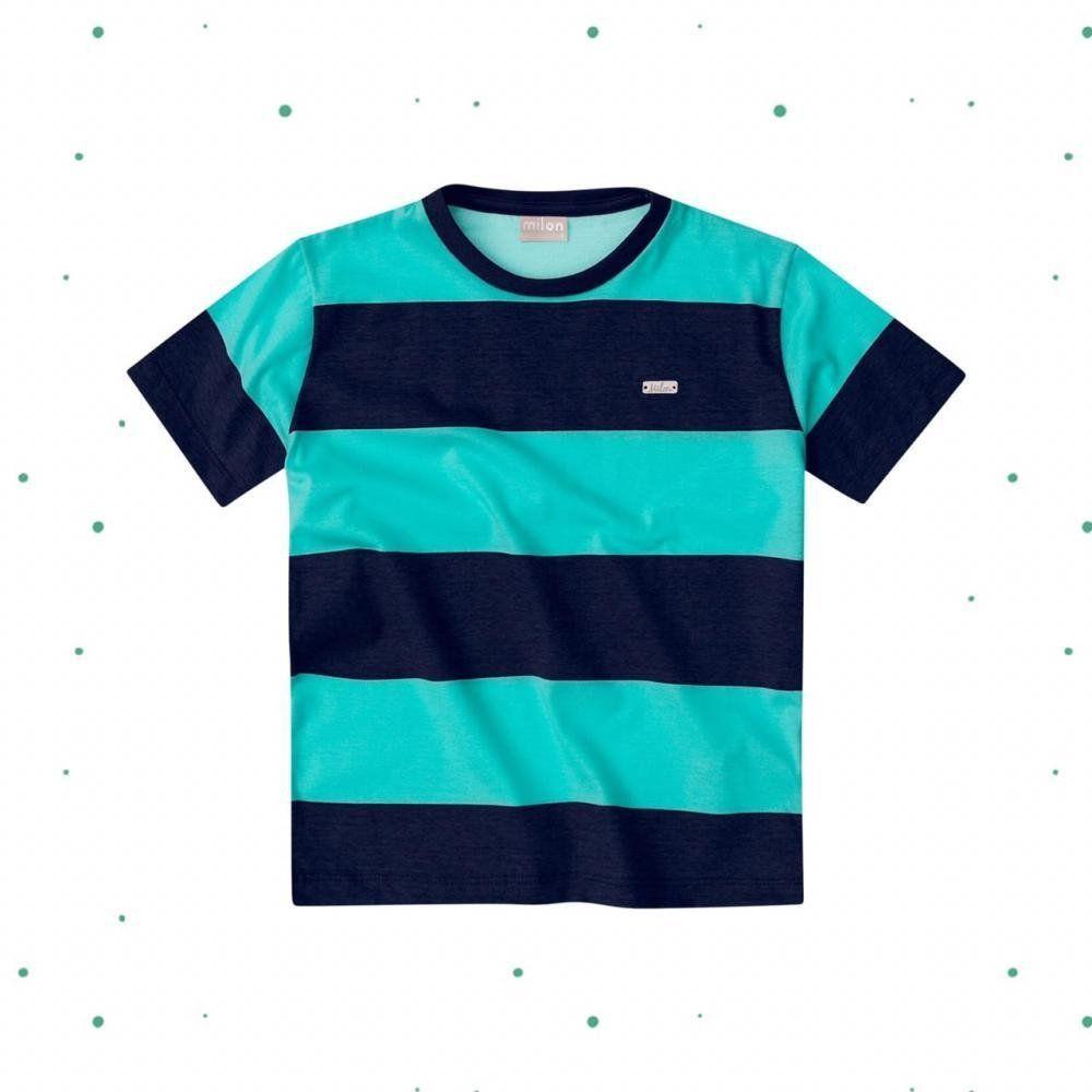 Camiseta Menino Milon em Meia Malha Listrada Verde com Marinho