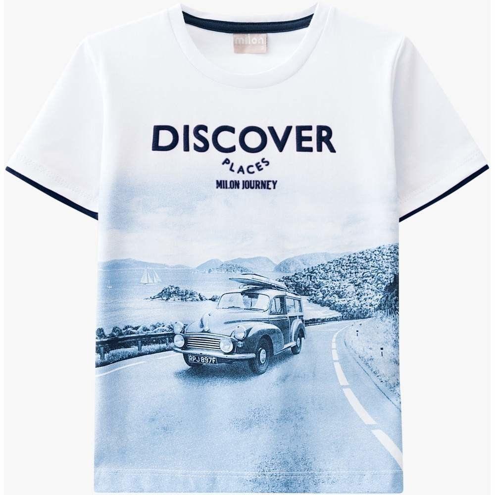 Camiseta Milon 100% algodão com estampa em Relevo Branca